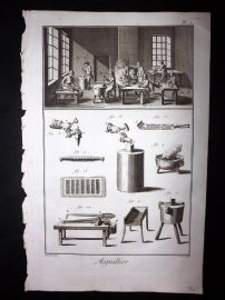 Diderot C1760 Folio Antique Print. Aiguiller 01 Needle Making